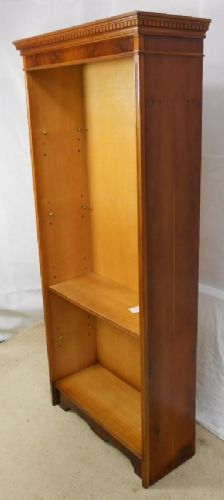 Yew Tall Narrow Open Bookcase
